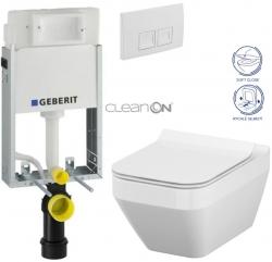 KOMBIFIXBasic včetně ovládacího tlačítka DELTA 50 Bílé pro závěsné WC CERSANIT CLEANON CREA OVÁL + SEDÁTKO (110.100.00.1 50BI CR2) - AKCE/SET/GEBERIT