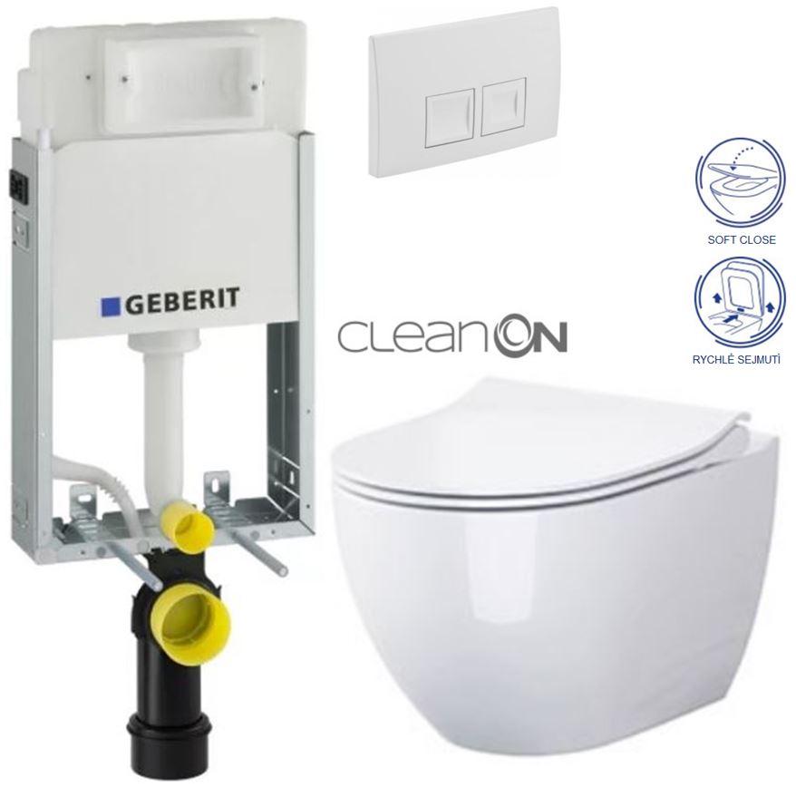 AKCE/SET/GEBERIT - KOMBIFIXBasic včetně ovládacího tlačítka DELTA 50 Bílé pro závěsné WC OPOCZNO CLEANON URBAN HARMONY + SEDÁTKO (110.100.00.1 50BI HA1)