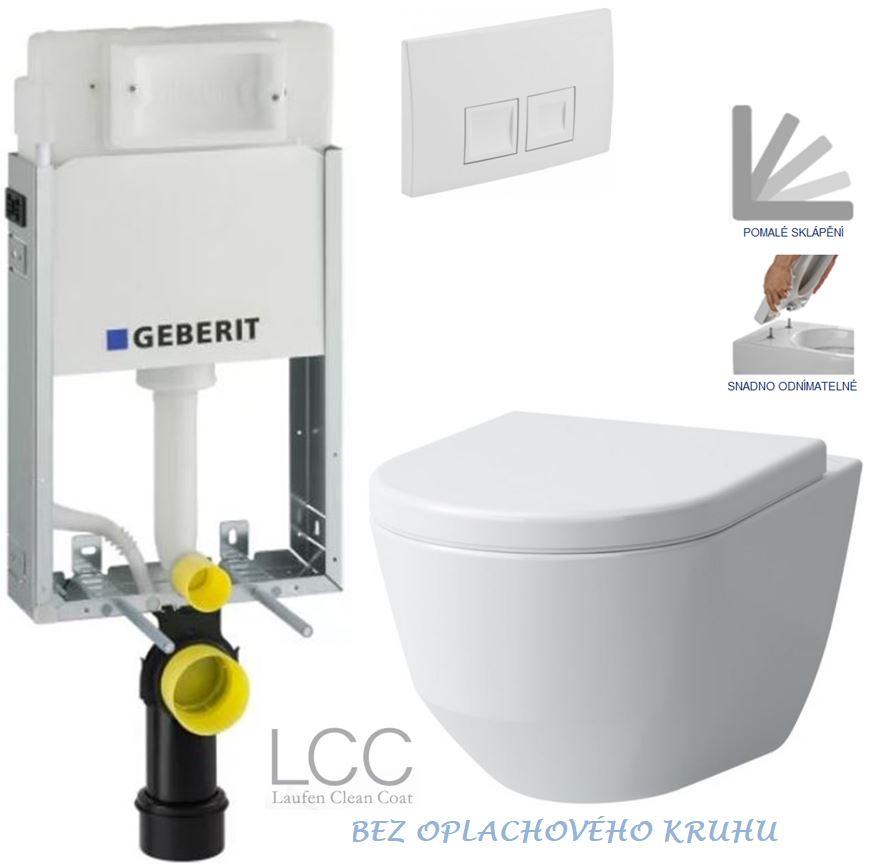 AKCE/SET/GEBERIT - GEBERIT - KOMBIFIXBasic včetně ovládacího tlačítka DELTA 50 Bílé pro závěsné WC LAUFEN PRO LCC RIMLESS + SEDÁTKO (110.100.00.1 50BI LP2)