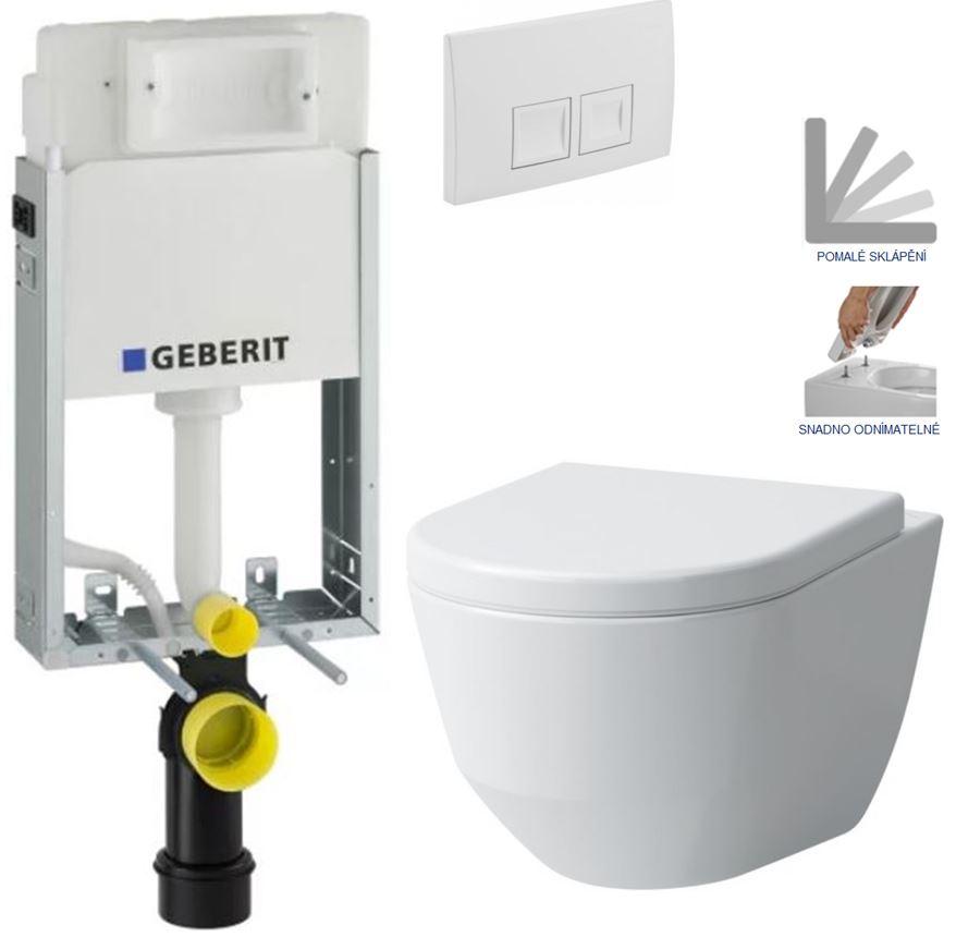 AKCE/SET/GEBERIT - KOMBIFIXBasic včetně ovládacího tlačítka DELTA 50 Bílé pro závěsné WC LAUFEN PRO + SEDÁTKO (110.100.00.1 50BI LP3)
