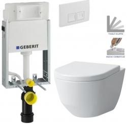 AKCE/SET/GEBERIT - SET KOMBIFIXBasic včetně ovládacího tlačítka DELTA 50 Bílé pro závěsné WC LAUFEN PRO + SEDÁTKO (110.100.00.1 50BI LP3)