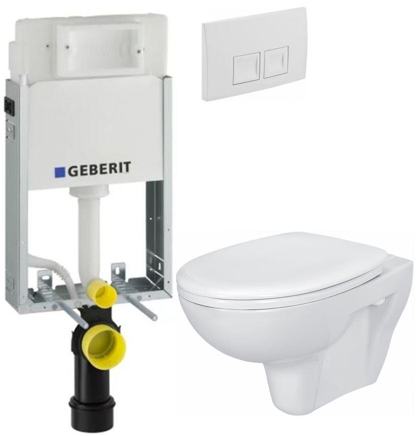 AKCE/SET/GEBERIT - KOMBIFIXBasic včetně ovládacího tlačítka DELTA 50 Bílé pro závěsné WC CERSANIT PRESIDENT + SEDÁTKO (110.100.00.1 50BI PR1)