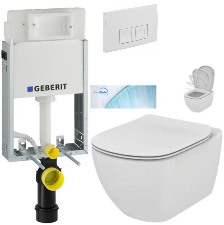 AKCE/SET/GEBERIT - GEBERIT - KOMBIFIXBasic včetně ovládacího tlačítka DELTA 50 Bílé pro závěsné WC TESI se sedátkem SoftClose, AquaBlade  (110.100.00.1 50BI TE1)