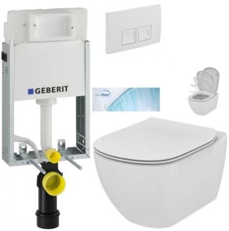 SET KOMBIFIXBasic včetně ovládacího tlačítka DELTA 50 Bílé pro závěsné WC TESI se sedátkem SoftClose, AquaBlade  (110.100.00.1 50BI TE1) - AKCE/SET/GEBERIT