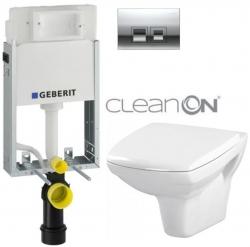 GEBERIT - SET KOMBIFIXBasic včetně ovládacího tlačítka DELTA 50 CR pro závěsné WC CERSANIT CLEANON CARINA + SEDÁTKO (110.100.00.1 50CR CA1)