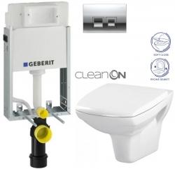 AKCE/SET/GEBERIT - KOMBIFIXBasic včetně ovládacího tlačítka DELTA 50 CR pro závěsné WC CERSANIT CLEANON CARINA + SEDÁTKO (110.100.00.1 50CR CA2)