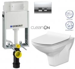 AKCE/SET/GEBERIT - KOMBIFIXBasic včetně ovládacího tlačítka DELTA 50 CR pro závěsné WC CERSANIT CLEANON CARINA + SEDÁTKO (110.100.00.1 50CR CA3)