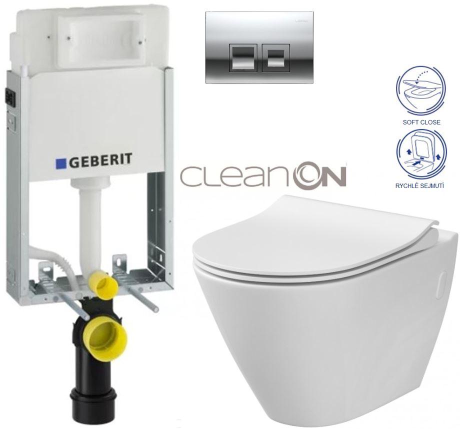 AKCE/SET/GEBERIT - GEBERIT - KOMBIFIXBasic včetně ovládacího tlačítka DELTA 50 CR pro závěsné WC CERSANIT CLEANON CITY + SEDÁTKO (110.100.00.1 50CR CI1)