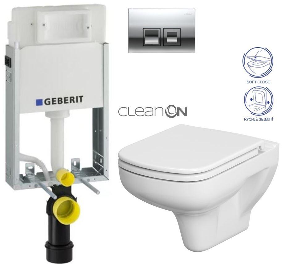 AKCE/SET/GEBERIT - KOMBIFIXBasic včetně ovládacího tlačítka DELTA 50 CR pro závěsné WC CERSANIT CLEANON COLOUR + SEDÁTKO (110.100.00.1 50CR CN1)