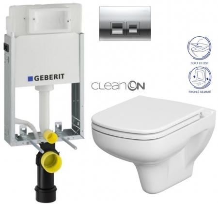AKCE/SET/GEBERIT - SET KOMBIFIXBasic včetně ovládacího tlačítka DELTA 50 CR pro závěsné WC CERSANIT CLEANON COLOUR + SEDÁTKO (110.100.00.1 50CR CN1)