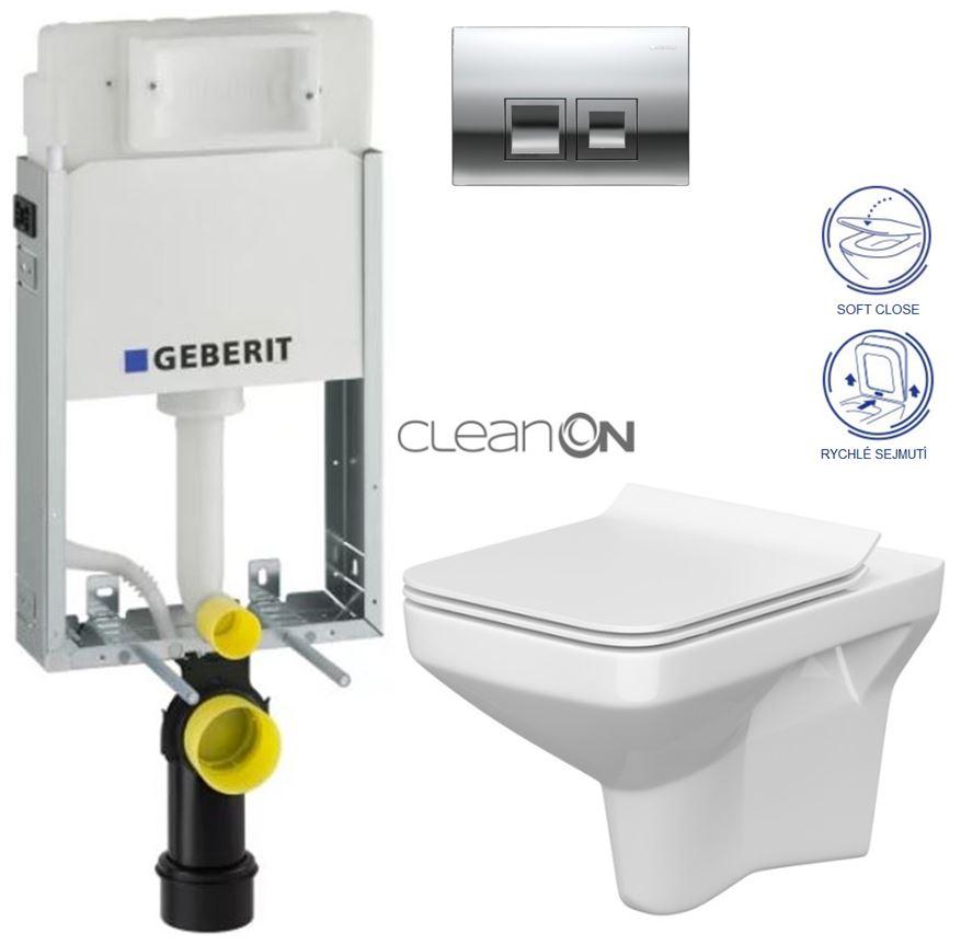 AKCE/SET/GEBERIT - KOMBIFIXBasic včetně ovládacího tlačítka DELTA 50 CR pro závěsné WC CERSANIT CLEANON COMO + SEDÁTKO (110.100.00.1 50CR CO1)