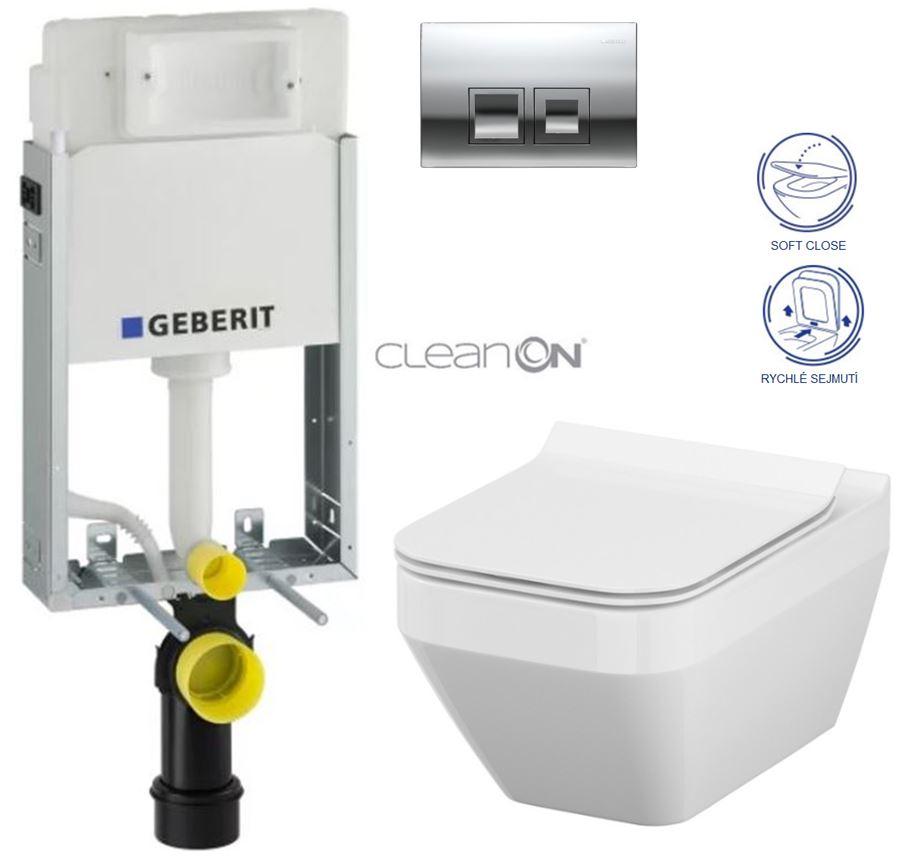 AKCE/SET/GEBERIT - KOMBIFIXBasic včetně ovládacího tlačítka DELTA 50 CR pro závěsné WC CERSANIT CLEANON CREA ČTVEREC + SEDÁTKO (110.100.00.1 50CR CR2)