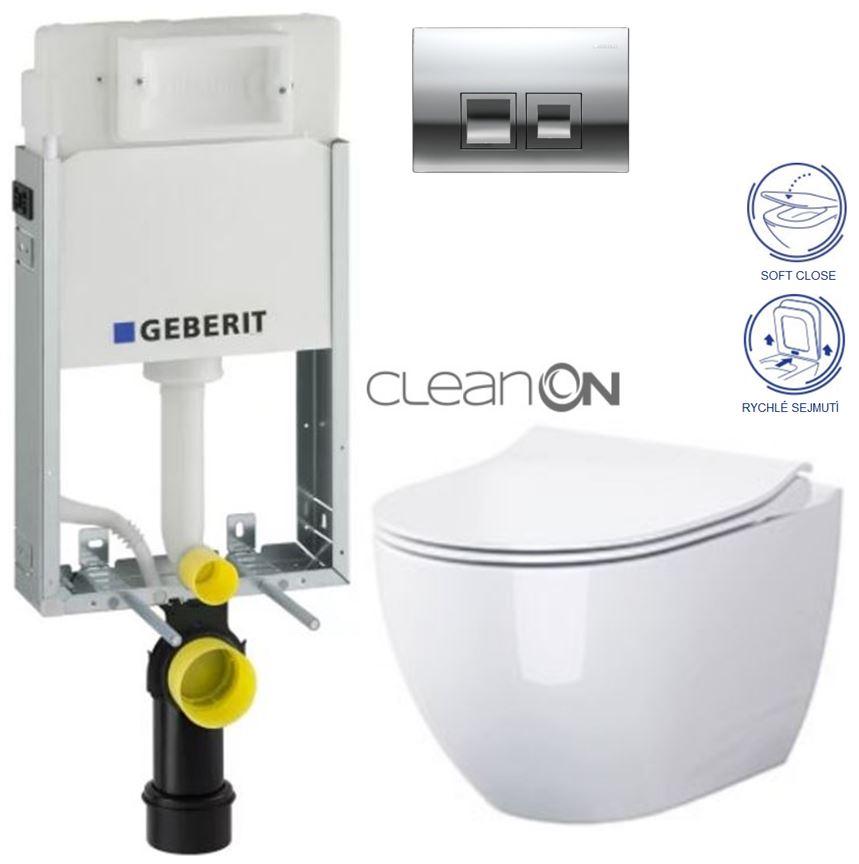 AKCE/SET/GEBERIT - GEBERIT - KOMBIFIXBasic včetně ovládacího tlačítka DELTA 50 CR pro závěsné WC OPOCZNO CLEANON URBAN HARMONY + SEDÁTKO (110.100.00.1 50CR HA1)