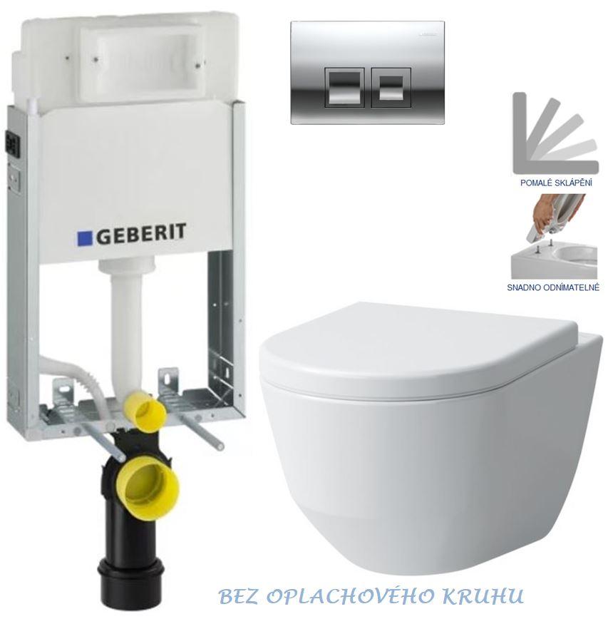 AKCE/SET/GEBERIT - GEBERIT - KOMBIFIXBasic včetně ovládacího tlačítka DELTA 50 CR pro závěsné WC LAUFEN PRO RIMLESS + SEDÁTKO (110.100.00.1 50CR LP1)