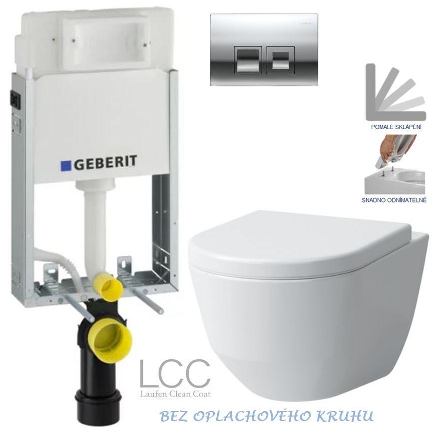 AKCE/SET/GEBERIT - KOMBIFIXBasic včetně ovládacího tlačítka DELTA 50 CR pro závěsné WC LAUFEN PRO LCC RIMLESS + SEDÁTKO (110.100.00.1 50CR LP2)