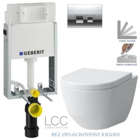 SET KOMBIFIXBasic včetně ovládacího tlačítka DELTA 50 CR pro závěsné WC LAUFEN PRO LCC RIMLESS + SEDÁTKO (110.100.00.1 50CR LP2) - GEBERIT