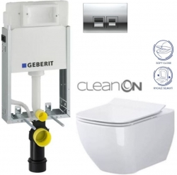 AKCE/SET/GEBERIT - KOMBIFIXBasic včetně ovládacího tlačítka DELTA 50 CR pro závěsné WC OPOCZNO CLEANON METROPOLITAN + SEDÁTKO (110.100.00.1 50CR ME1)