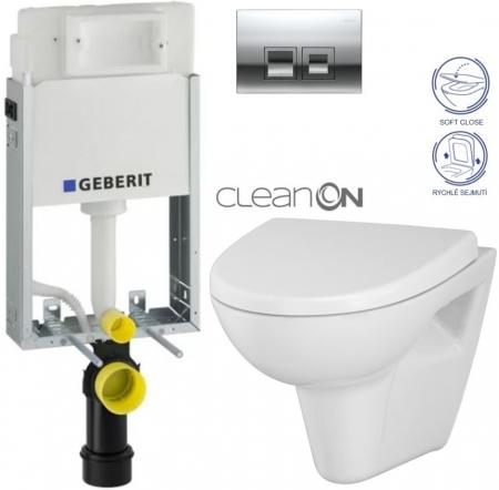KOMBIFIXBasic včetně ovládacího tlačítka DELTA 50 CR pro závěsné WC CERSANIT CLEANON PARVA + SEDÁTKO (110.100.00.1 50CR PA1) - AKCE/SET/GEBERIT