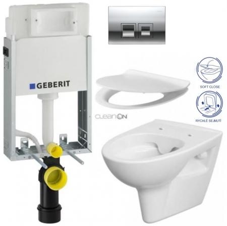 AKCE/SET/GEBERIT - KOMBIFIXBasic včetně ovládacího tlačítkaDELTA 50 CR pro závěsné WC CERSANIT CLEANON PARVA + SEDÁTKO (110.100.00.1 50CR PA2)