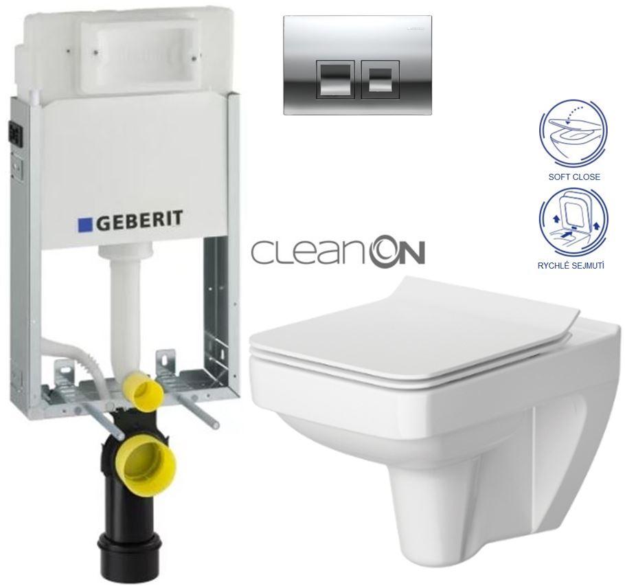 AKCE/SET/GEBERIT - KOMBIFIXBasic včetně ovládacího tlačítka DELTA 50 CR pro závěsné WC CERSANIT CLEANON SPLENDOUR + SEDÁTKO (110.100.00.1 50CR SP1)