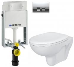 GEBERIT - SET KOMBIFIXBasic včetně ovládacího tlačítka DELTA 50 CR pro závěsné WC CERSANIT PRESIDENT + SEDÁTKO (110.100.00.1 50CR PR1)