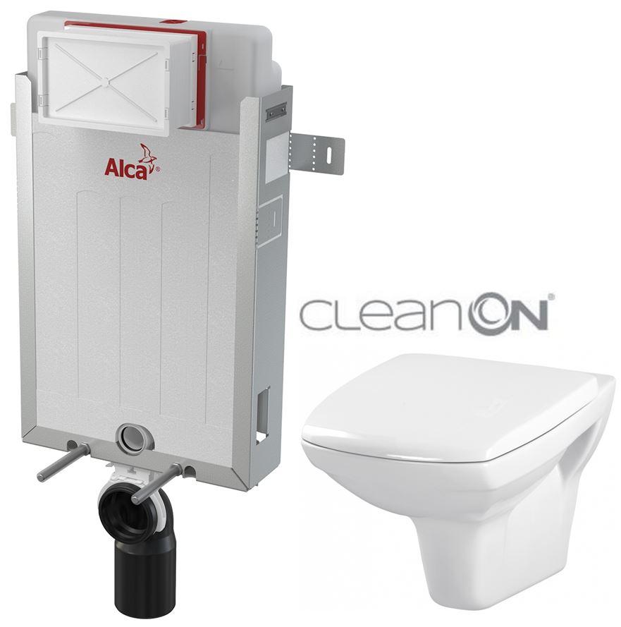 AKCE/SET/ALCAPLAST - Renovmodul - předstěnový instalační systém - 1 m AM115/1000 pro závěsné WC CERSANIT CLEANON CARINA + SEDÁTKO (AM115/1000 X CA1)