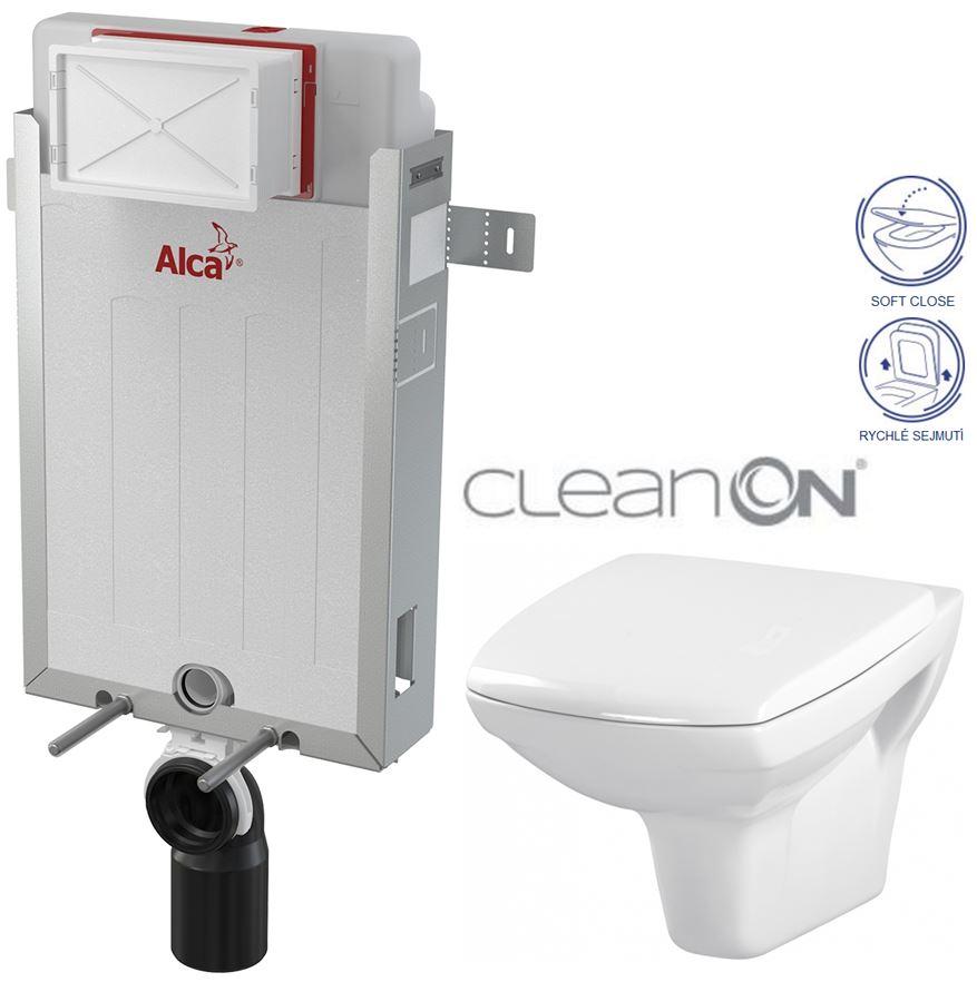 AKCE/SET/ALCAPLAST - Renovmodul - předstěnový instalační systém + WC CERSANIT CLEANON CARINA + SEDÁTKO (AM115/1000 X CA2)