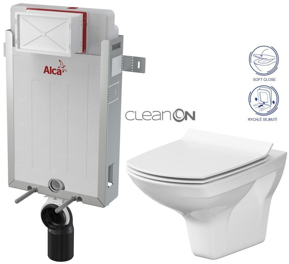 ALCAPLAST Renovmodul předstěnový instalační systém bez tlačítka + WC CERSANIT CLEANON CARINA + SEDÁTKO AM115/1000 X CA3