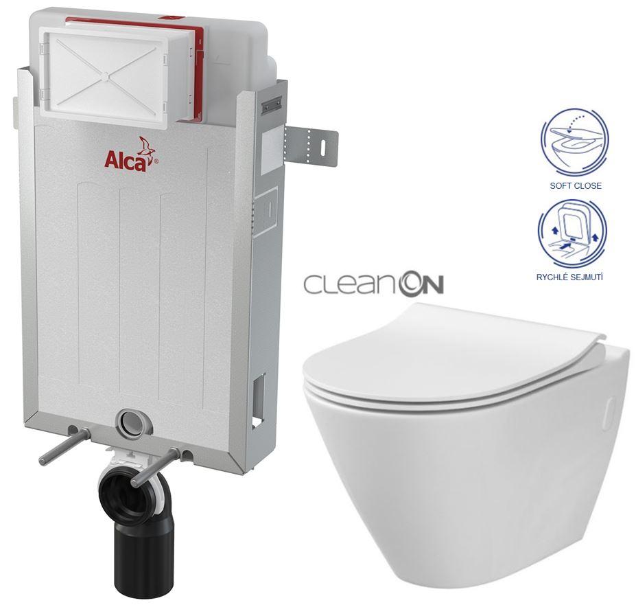 AKCE/SET/ALCAPLAST - Renovmodul - předstěnový instalační systém + WC CERSANIT CLEANON CITY + SEDÁTKO (AM115/1000 X CI1)