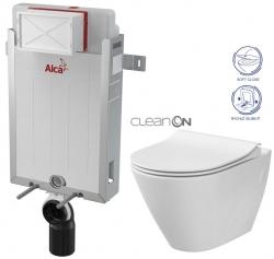 AKCE/SET/ALCAPLAST - SET Renovmodul - předstěnový instalační systém + WC CERSANIT CLEANON CITY + SEDÁTKO (AM115/1000 X CI1)
