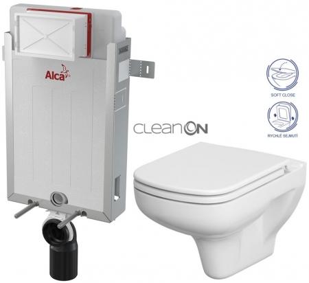 AKCE/SET/ALCAPLAST - Renovmodul - předstěnový instalační systém + WC CERSANIT CLEANON COLOUR + SEDÁTKO (AM115/1000 X CN1)