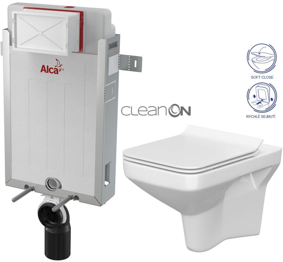 AKCE/SET/ALCAPLAST - Renovmodul - předstěnový instalační systém + WC CERSANIT CLEANON COMO + SEDÁTKO (AM115/1000 X CO1)