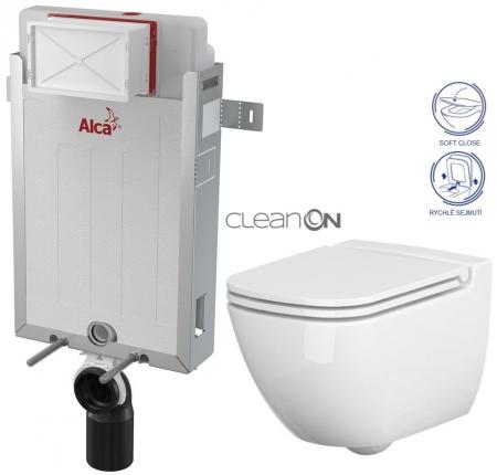 AKCE/SET/ALCAPLAST - Renovmodul - předstěnový instalační systém + WC CERSANIT CLEANON CASPIA + SEDÁTKO (AM115/1000 X CP1)