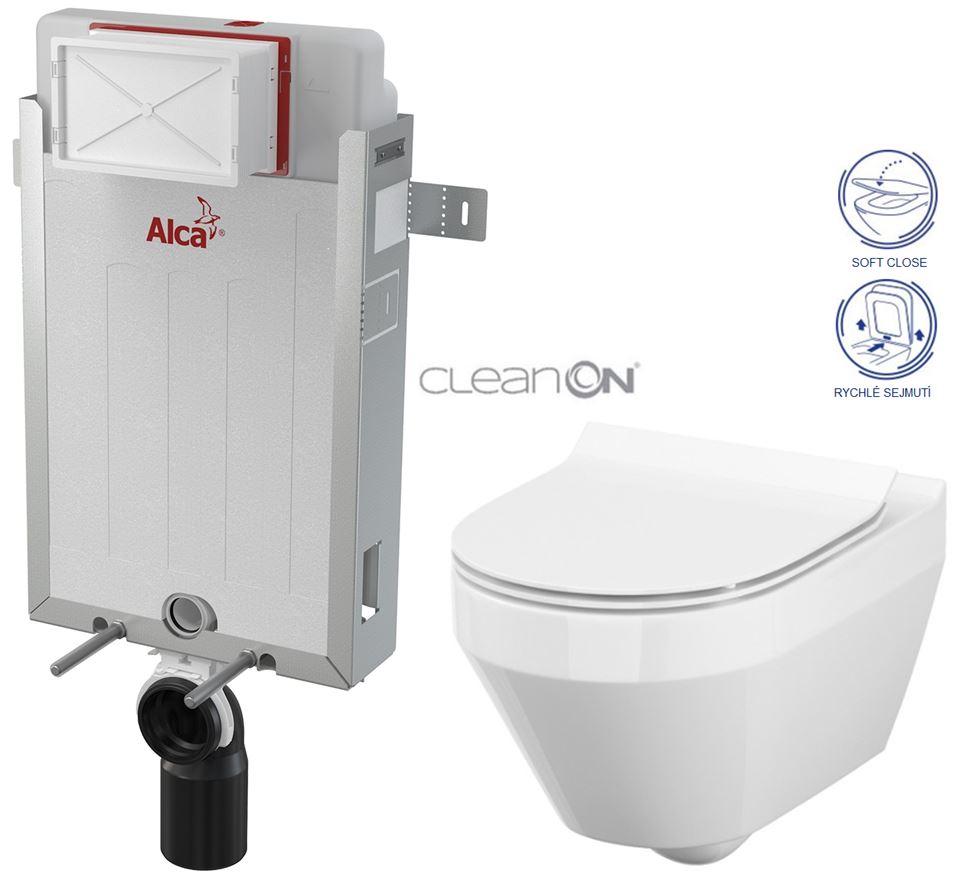 AKCE/SET/ALCAPLAST - Renovmodul - předstěnový instalační systém + WC CERSANIT CLEANON CREA OVÁL + SEDÁTKO (AM115/1000 X CR1)