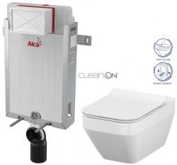 AKCE/SET/ALCAPLAST - Renovmodul - předstěnový instalační systém + WC CERSANIT CLEANON CREA ČTVEREC + SEDÁTKO (AM115/1000 X CR2)