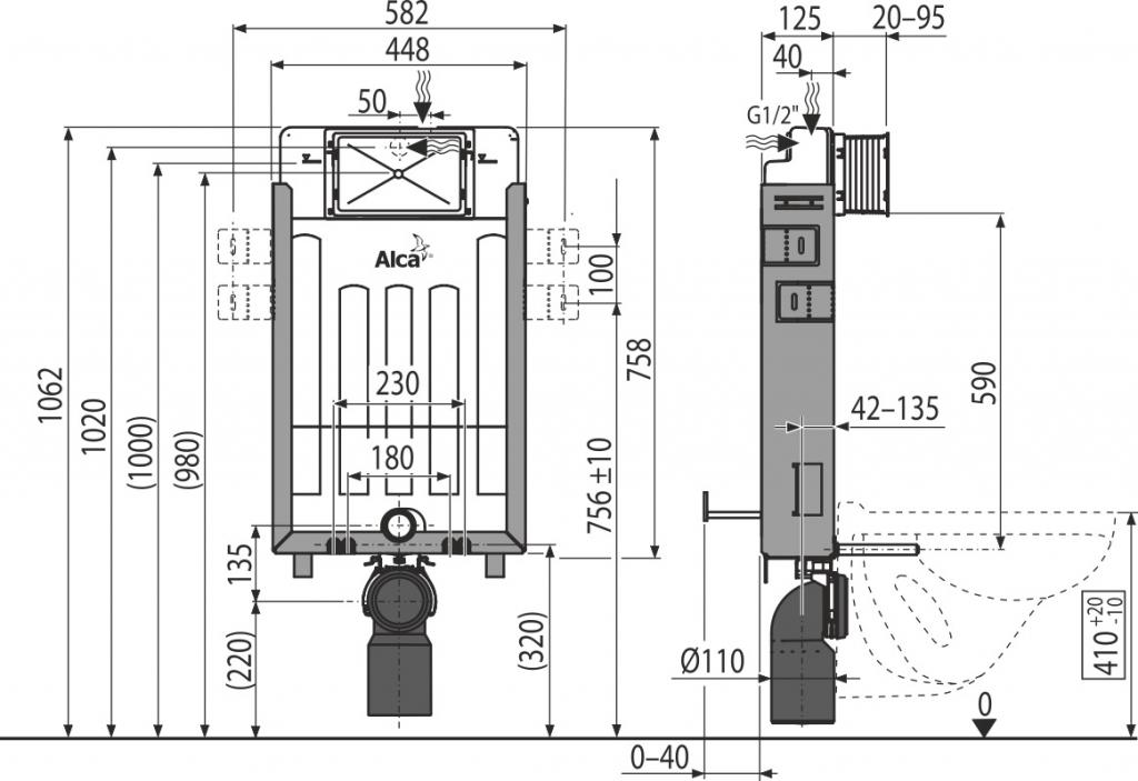 AKCE/SET/ALCAPLAST - Renovmodul - předstěnový instalační systém + WC CERSANIT CLEANON CREA ČTVEREC + SEDÁTKO (AM115/1000 X CR2), fotografie 2/7