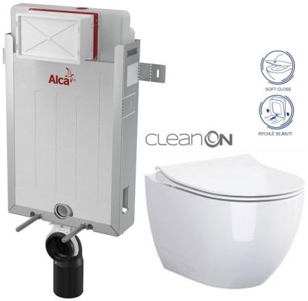 ALCAPLAST  Renovmodul - předstěnový instalační systém bez tlačítka + WC CERSANIT ZEN CLEANON + SEDÁTKO (AM115/1000 X HA1)