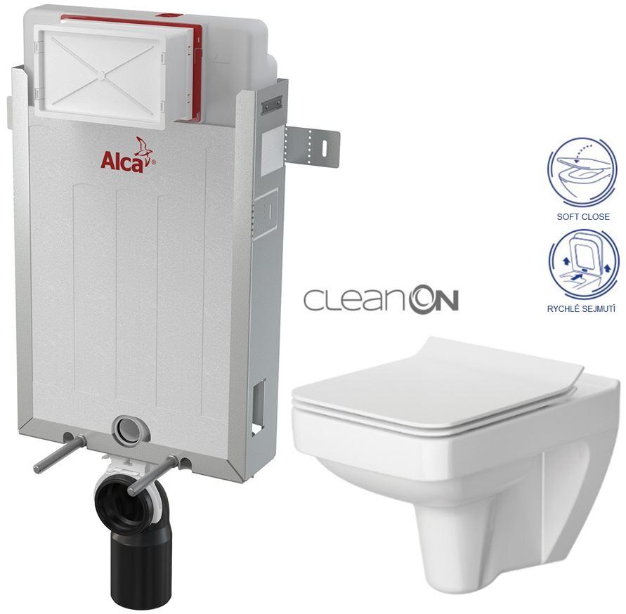 AKCE/SET/ALCAPLAST - Renovmodul - předstěnový instalační systém + WC CERSANIT CLEANON SPLENDOUR + SEDÁTKO (AM115/1000 X SP1)