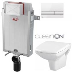 AKCE/SET/ALCAPLAST - Renovmodul - předstěnový instalační systém + tlačítko M1710 + WC CERSANIT CLEANON CARINA + SEDÁTKO (AM115/1000 M1710 CA1)
