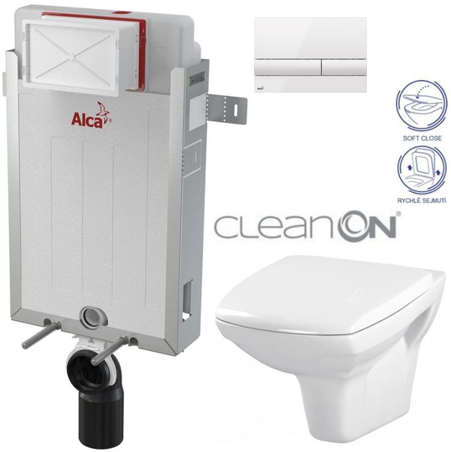 AKCE/SET/ALCAPLAST - Renovmodul - předstěnový instalační systém + tlačítko M1710 + WC CERSANIT CLEANON CARINA + SEDÁTKO (AM115/1000 M1710 CA2)