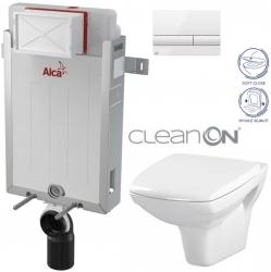 AKCE/SET/ALCAPLAST - SET Renovmodul - předstěnový instalační systém + tlačítko M1710 + WC CERSANIT CLEANON CARINA + SEDÁTKO (AM115/1000 M1710 CA2)
