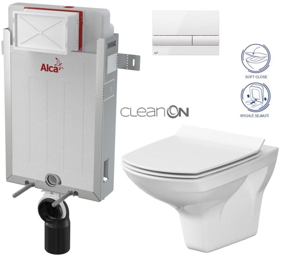 AKCE/SET/ALCAPLAST - Renovmodul - předstěnový instalační systém + tlačítko M1710 + WC CERSANIT CLEANON CARINA + SEDÁTKO (AM115/1000 M1710 CA3)
