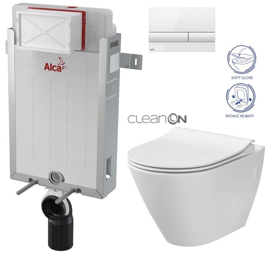 AKCE/SET/ALCAPLAST - Renovmodul - předstěnový instalační systém + tlačítko M1710 + WC CERSANIT CLEANON CITY + SEDÁTKO (AM115/1000 M1710 CI1)
