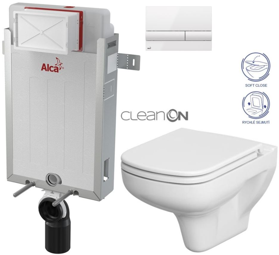 AKCE/SET/ALCAPLAST SET Renovmodul předstěnový instalační systém + tlačítko M1710 + WC CERSANIT CLEANON COLUR + SEDÁTKO AM115/1000 M1710 CN1