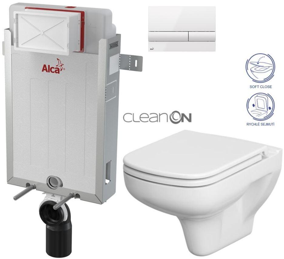 AKCE/SET/ALCAPLAST - Renovmodul - předstěnový instalační systém + tlačítko M1710 + WC CERSANIT CLEANON COLUR + SEDÁTKO (AM115/1000 M1710 CN1)