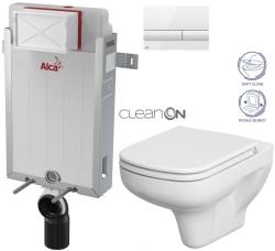AKCE/SET/ALCAPLAST - SET Renovmodul - předstěnový instalační systém + tlačítko M1710 + WC CERSANIT CLEANON COLUR + SEDÁTKO (AM115/1000 M1710 CN1)