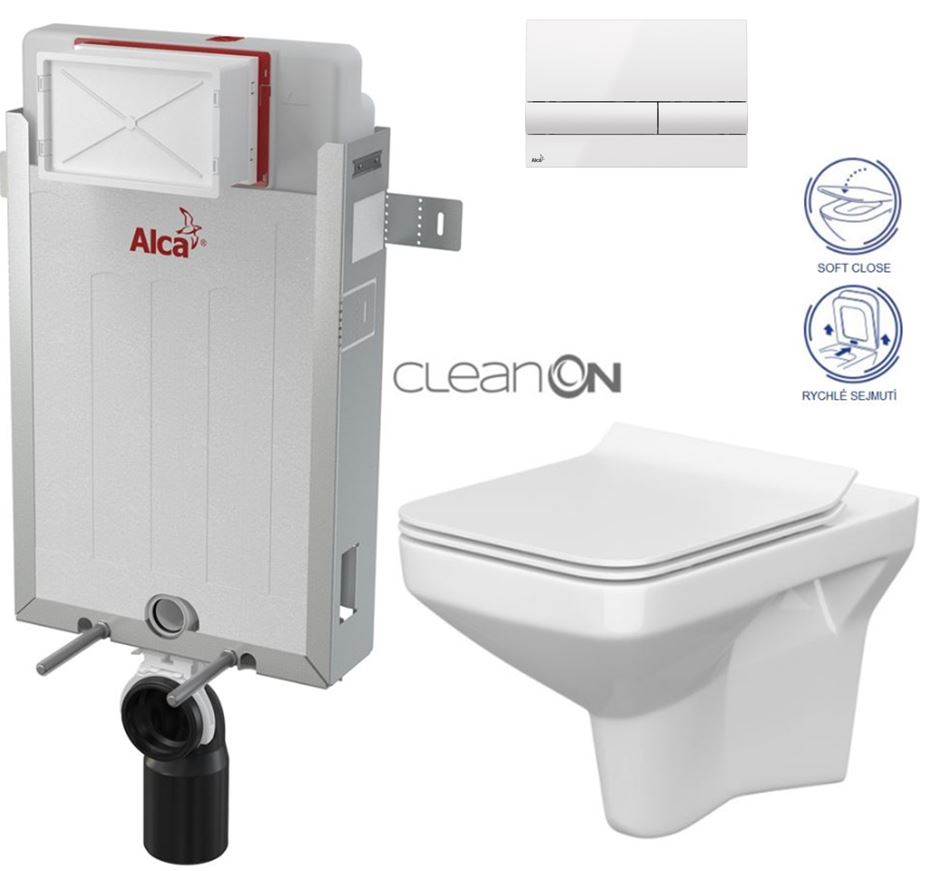 AKCE/SET/ALCAPLAST - Renovmodul - předstěnový instalační systém + tlačítko M1710 + WC CERSANIT CLEANON COMO + SEDÁTKO (AM115/1000 M1710 CO1)