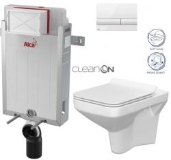 AKCE/SET/ALCAPLAST - SET Renovmodul - předstěnový instalační systém + tlačítko M1710 + WC CERSANIT CLEANON COMO + SEDÁTKO (AM115/1000 M1710 CO1)