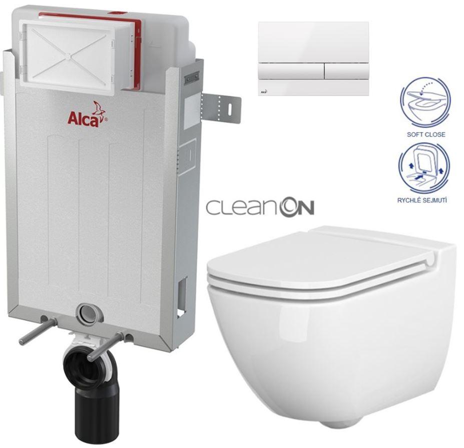 AKCE/SET/ALCAPLAST - Renovmodul - předstěnový instalační systém + tlačítko M1710 + WC CERSANIT CLEANON CASPIA + SEDÁTKO (AM115/1000 M1710 CP1)