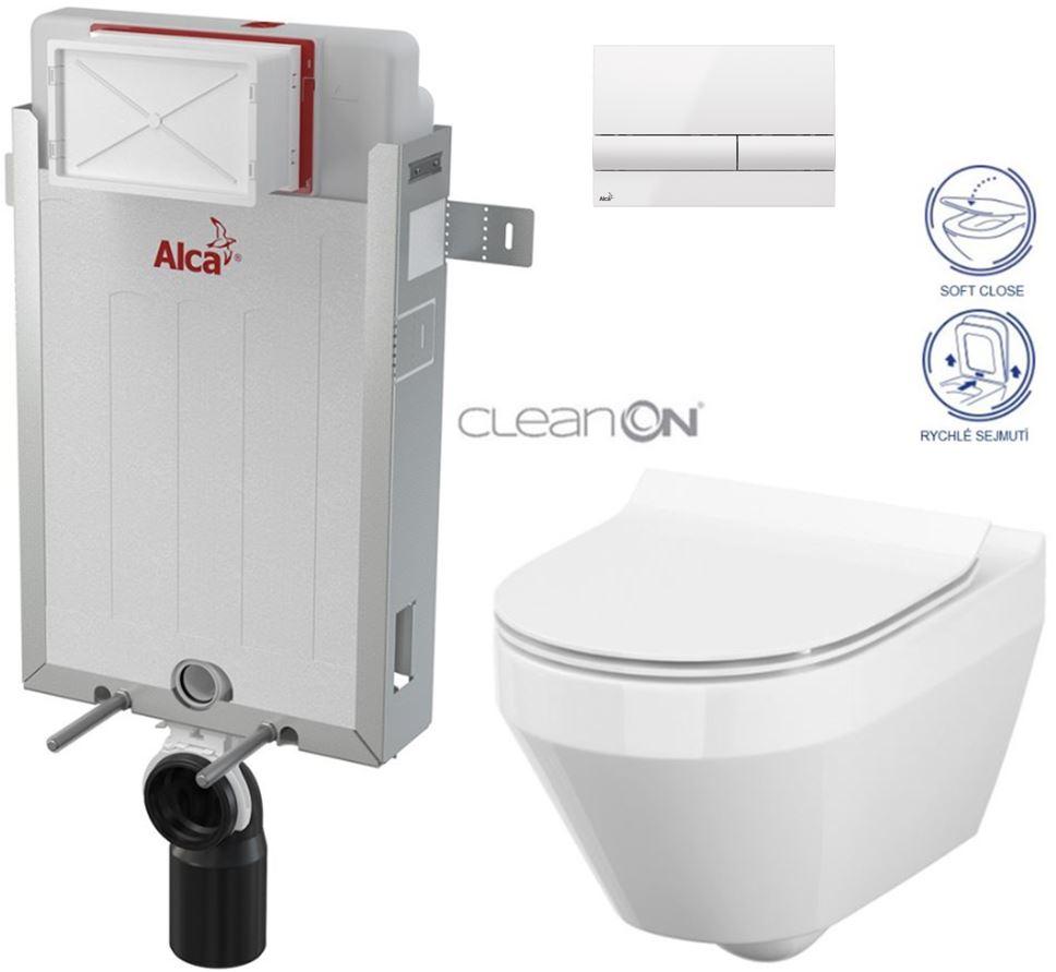 AKCE/SET/ALCAPLAST - Renovmodul - předstěnový instalační systém + tlačítko M1710 + WC CERSANIT CLEANON CREA OVÁL + SEDÁTKO (AM115/1000 M1710 CR1)